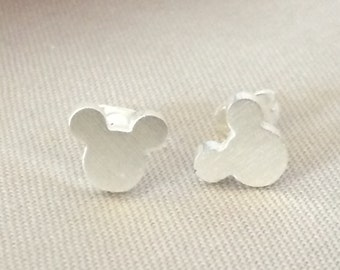 Tiny Sterling Silver Mickey Head Stud Earrings Studs Minnie Mouse Disney Jewelry Dainty Delicate Cute Disneyland World Vacation Cruise