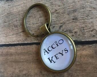Vintage Gold Harry Potter Accio Keys keychain Hogwarts JK Rowling gift Gryffindor magic sizard key chain key ring keyring