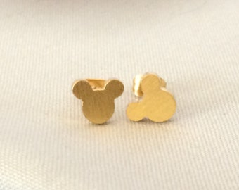 Tiny Gold Mickey Head Stud Earrings 18k Gold Plated Studs Minnie Mouse Disney Jewelry Dainty Delicate Cute Disneyland World Vacation Cruise