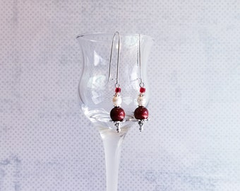 Pearl Earrings, Sterling Silver Dangle earrings, White pearls, Red pearl earrings