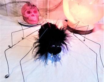 Handmade wire spider decor, Textile spider art, Soft sculpture Spider