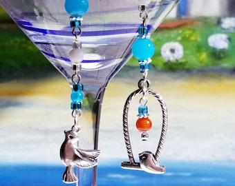 Mismatch earrings, Long Earrings Aqua Blue Dangle Birds, Boho earrings