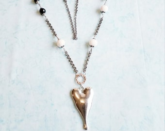 Long Heart Necklace, Boho necklace, Silver long necklace, Heart necklace, Long chain necklace, Wedding Necklace