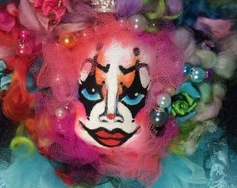 Clown Decoration, Wall Hanging, Fiber Art Holiday