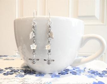 Long Bee Earrings, Dangle Tiny Bee Flower earrings, Nature Leaf Dangle earrings, Silver chain earrings