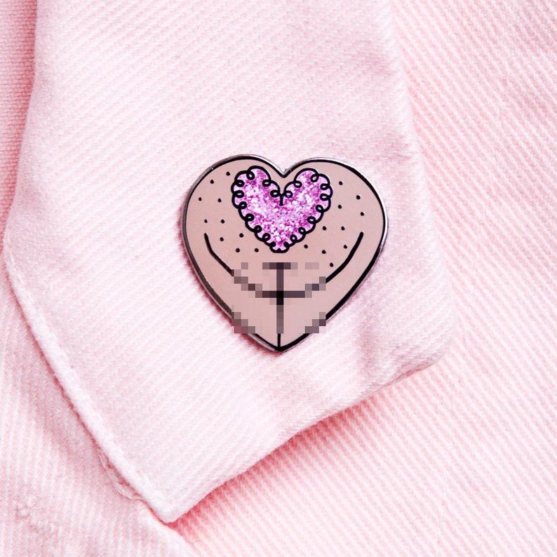 Vulva Enamel Pin  Glitter Heart Pubes  The Vulva Gallery image 0