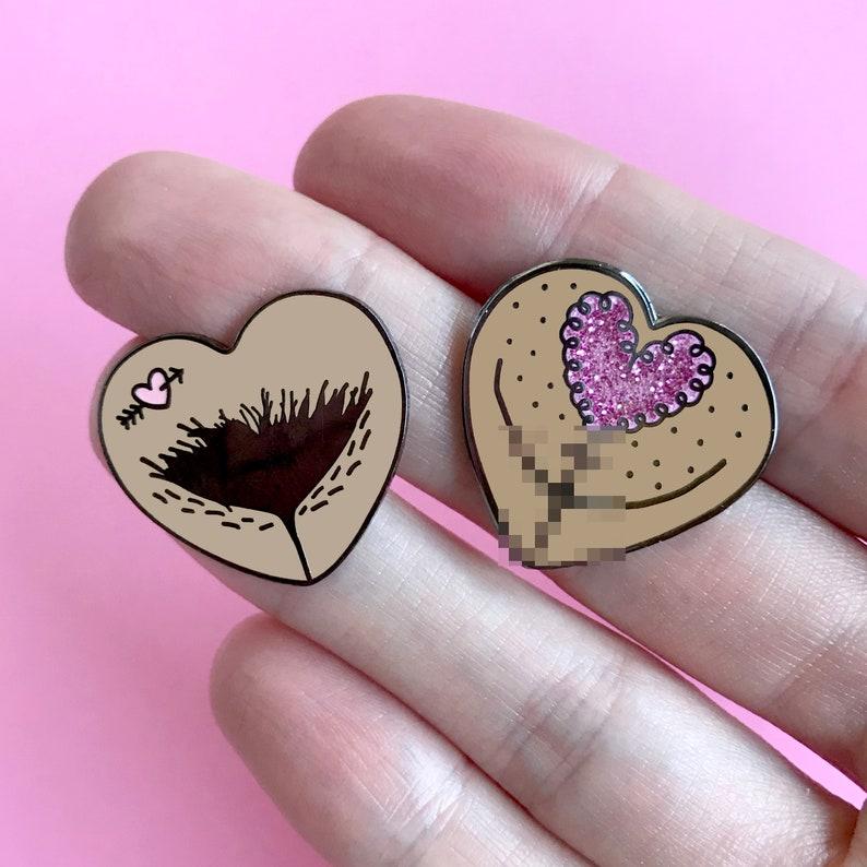 Vulva Heart Pin Duo  Hard Enamel Pin Set  The Vulva Gallery image 0