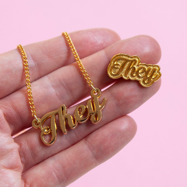 They  Pronoun necklace and pin  Duo set  You're Welcome image 0