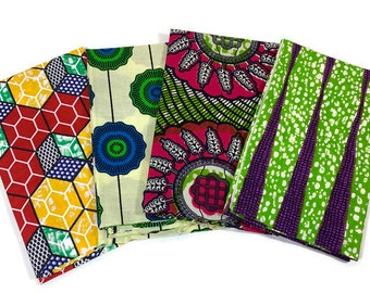 African Wax Print Fabric--4 Pack FAT QUARTER BUNDLE--Green Assortment--Assorted Color/Assorted Patterns--For Sewing, Quilting, Crafts.