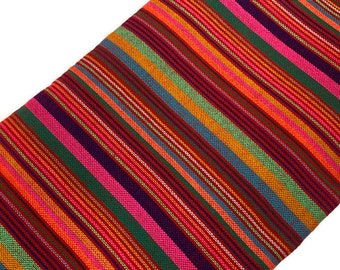 7142b6635f4580 Mexican Cambaya Fabric in Multi-Colored Stripes. Mexican Woven Fabric by  the YARD. Acrylic Fabric 30