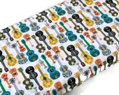 Day of the Dead Guitar Art Fabric by the YARD. White Turquoise Yellow Olive Halloween Fabric. 100 Cotton for Quilting, Apparel, Home Decor.