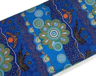 Australian Aboriginal Cotton Quilting Fabric by the YARD. M&S Textiles Home Country Blue. For sewing, quilting, apparel, and home décor.