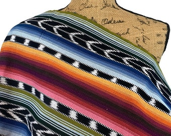 Guatemalan Fabric by the YARD. Handwoven Fair Trade Mayan Fabric. Heavy Woven Fabric for Home Decor. Tribal Black, White, Rainbow Stripes