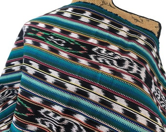 Guatemalan Fabric by the YARD. Handwoven Fair Trade Mayan Heavy Woven Fabric for Home Decor. Tribal Black/White Ikat with Turquoise Stripes.