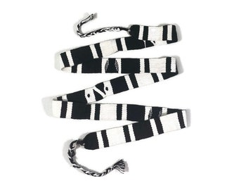 Guatemalan Hand Woven Belt--Black & White with Braided Tassel Ends. 1.25 Inches Wide x 46 Inch Long Cotton Mayan Toto Sash, Strap Textile.
