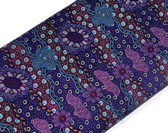 Australian Aboriginal Cotton Quilting Fabric by the YARD. M&S Textiles Lillup Dreaming Purple. For sweing, quilting, apparel, home décor.