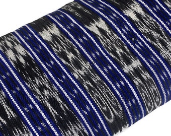 Guatemalan Fabric by the YARD. Handwoven Fair Trade Mayan Fabric. Medium Weight Fine Weave for Home Décor or Apparel. Blue Black White Ikat.