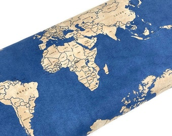 """End of Bolt--World Map Fabric--Passport Map of the World by Windham Fabrics--2 Remnant Pieces--24"""" and 30"""". Sea Blue World Traveler Fabric."""