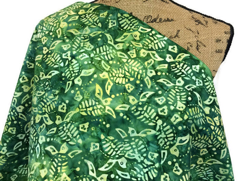 Indonesian Batik Fabric--Unique Hand Dyed Cotton Batik Quilt Fabric--YellowGreen Sea Turtles on Emerald Green--Sold by the YARD for Sewing