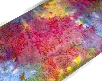 Pastel Rainbow Watercolor Indonesian Batik Fabric by the YARD. Hand Dyed Tie Dyed Fabric. Cotton Fabric for Quilting, Apparel, Home Décor.