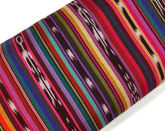 """Southwest Style Ikat Striped Guatemalan Fabric by the YARD. Handwoven Fair Trade Mayan Fabric. Ethnic Woven Fabric for Home Décor 36"""" wide."""