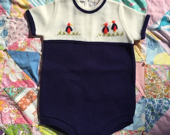 Knit Infant Baby Chicks 60's Onesie