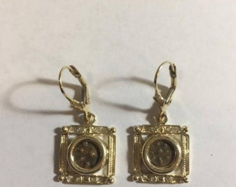 Earrings-14K Yellow Gold and Antique Rare Bronze Widow\'s Mite Coins