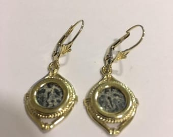 Antique Coin Earrings, 14K Yellow Gold Earrings, Bronze Widow's Mite Coin