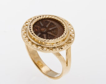Ring Yellow 14K Gold Antique Rare Bronze Widows Mite Coin Ring Unique