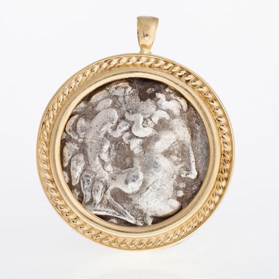 Antike Münze Anhänger 14k Gelb Gold Anhänger Alexander Der Etsy
