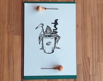 Linocut print - Coffee or death - Block printing - coffee art