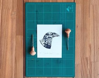 Linocut print - Canary Islands Raven- Crow - Block print - animal print 23x16 cm 9x6 inch