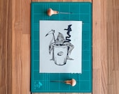 Linocut print 8x10 inch - Coffee or death - Block printing - coffee art