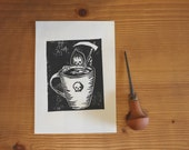 Linocut print - coffee or death - Block printing - coffee lover 7x5