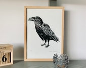 Linocut print A4 - Raven - Crow from Canary Islands - linoprint- Block printing