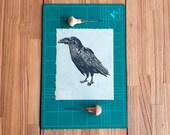 Linocut print 8x10 on japanese paper - Raven - Canarian Crow original design - Block printing