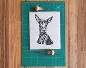 Linocut print 8x10 on japanese paper - Canarian greyhound original design - Block printing -Lino print - Podenco - Dog print