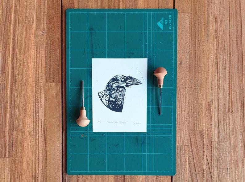 Linocut print  Canary Islands Raven Crow  Block print  image 0