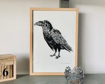 Linocut print A4 - Raven - Crow from Canary Islands - linoprint- Block printing