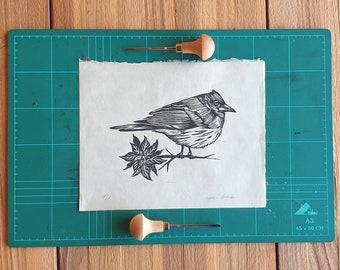 Tenerife blue chaffinch - Linocut print 8x10 on japanese paper - Block printing - lino print