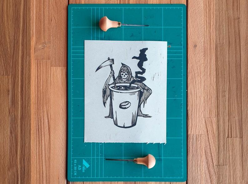 Linocut print 8x10 inch  Coffee or death  Block printing  image 0