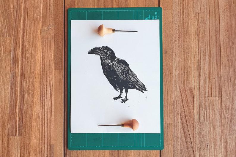 Linocut print A3  Raven  Canarian Crow original design  image 0