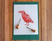 Linocut print A3 - Raven - Canarian Crow red print - Block printing - Lino print