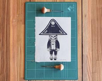 Linocut print - Dance or die - Block printing - Enano de la Palma 8X10 printed on japanese paper - Danza de los enanos