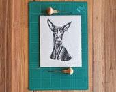 Linocut print 8x10 on japanese paper - Canarian greyhound original design - Block printing -Lino print - Podenco - Dog print
