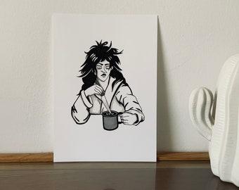 Original artwork morning coffee - coffee illustration - Original ink illustration 5,8x8,3 inch - Mean girls