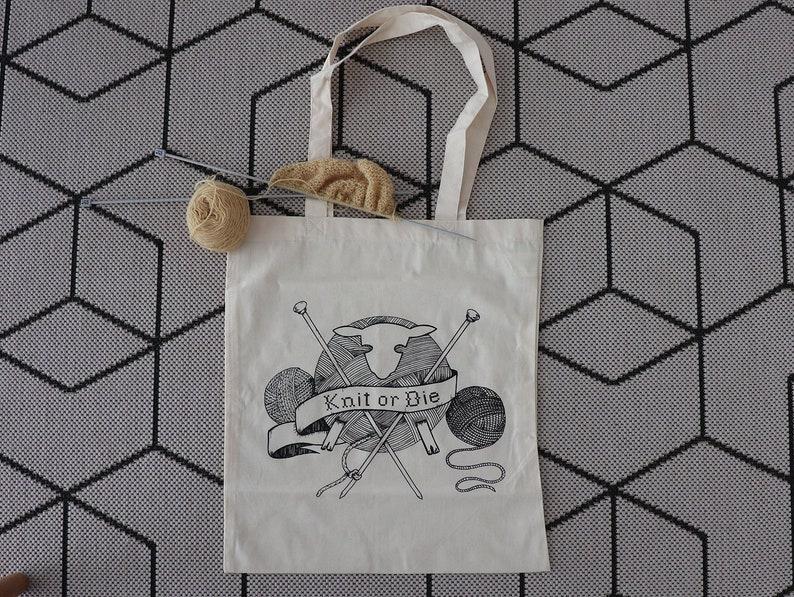 Screenprinted knitting bag / Knit or die / Tote bag / Original image 0