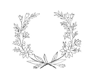 flower wreath redwork embroidery design