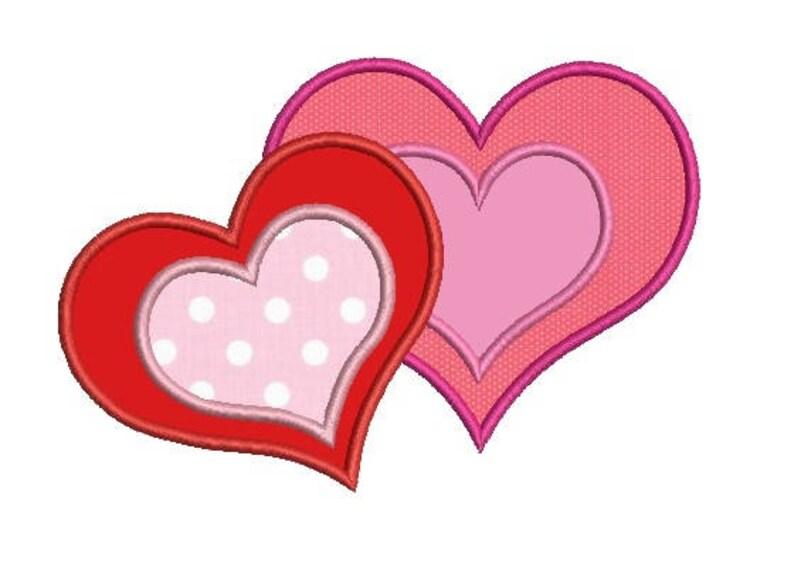 Hearts applique embroidery design etsy