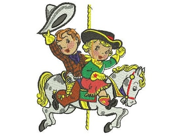 Cow boy and girl embroidery design